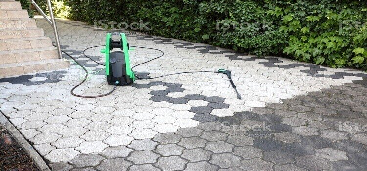 An electric pressure washer ready for cleaning